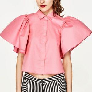 Zara Pink Puff Sleeve Open Back Button Down Top